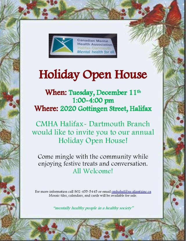 Holiday Open House, CMHA HalDart, Dec. 11, 1-4pm