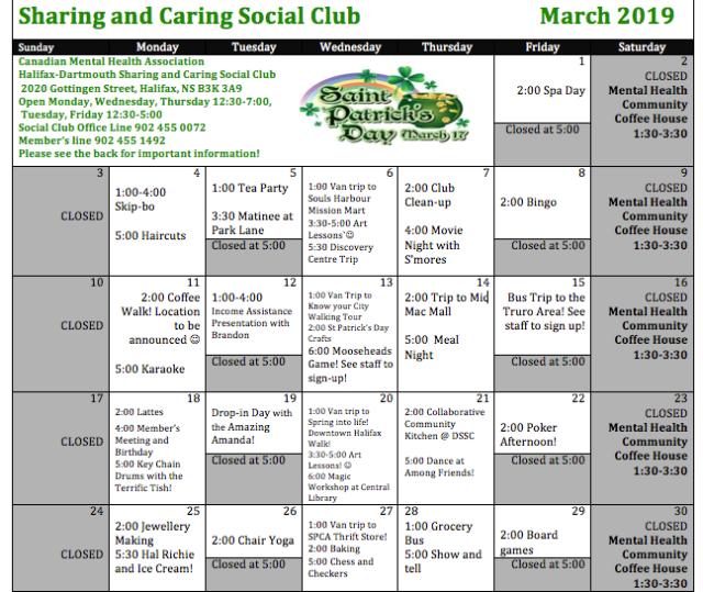 SC March Schedule 2019